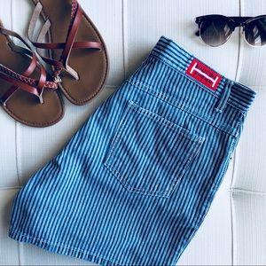 Vintage Halston High Waisted Striped Denim Shorts